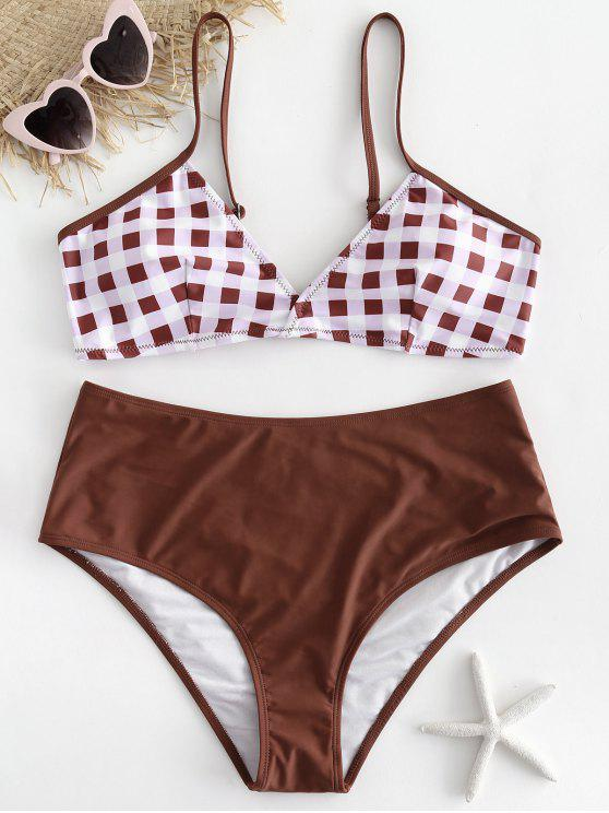 fancy Plus Size Checked Bikini Set - CHESTNUT RED 1X