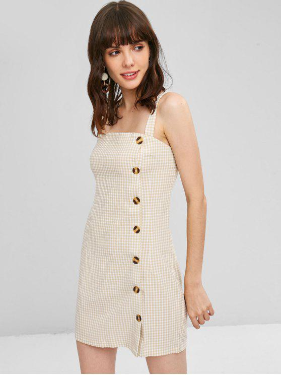 sale Button Up Gingham Short Dress - BLANCHED ALMOND S