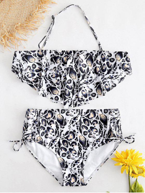Conjunto de bikini estampado leopardo talla grande - Blanco Cálido 2X