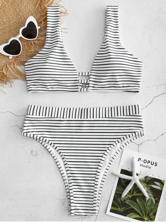 Bikini A Righe A Vita Alta Con Taglio Alto - Nero S