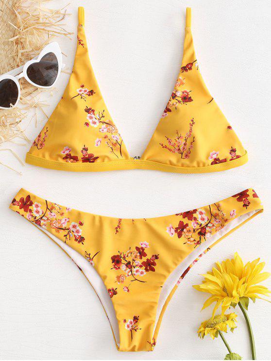 Bikini A Vita Bassa Con Stampa Fiore Di Prugna - Giallo Rubber Ducky M