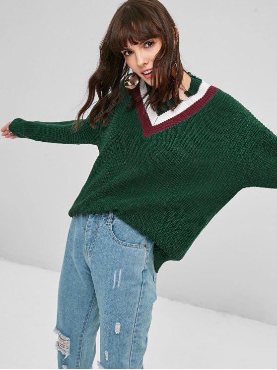 Kontrast Gerippter Pullover - Dunkelgrün Eine Größe