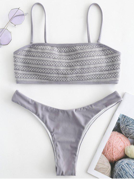 sale Smocked High Cut Bikini Set - BATTLESHIP GRAY S