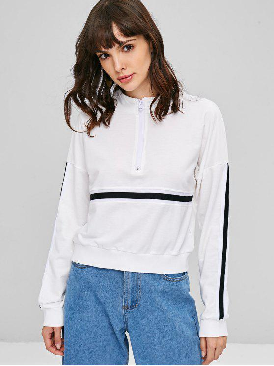 affordable Striped High Neck Pullover Sweatshirt - WHITE L