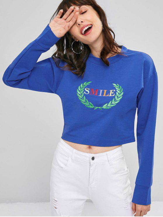trendy Smile Graphic Leaves Embroidered Sweatshirt - BLUEBERRY BLUE L