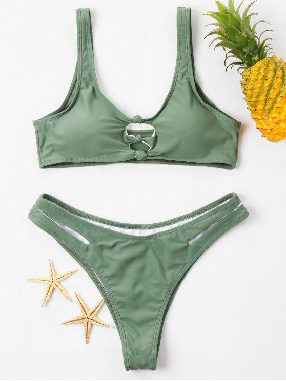 trendy Knot Cut Out Plunge Bikini Set - HAZEL GREEN XL
