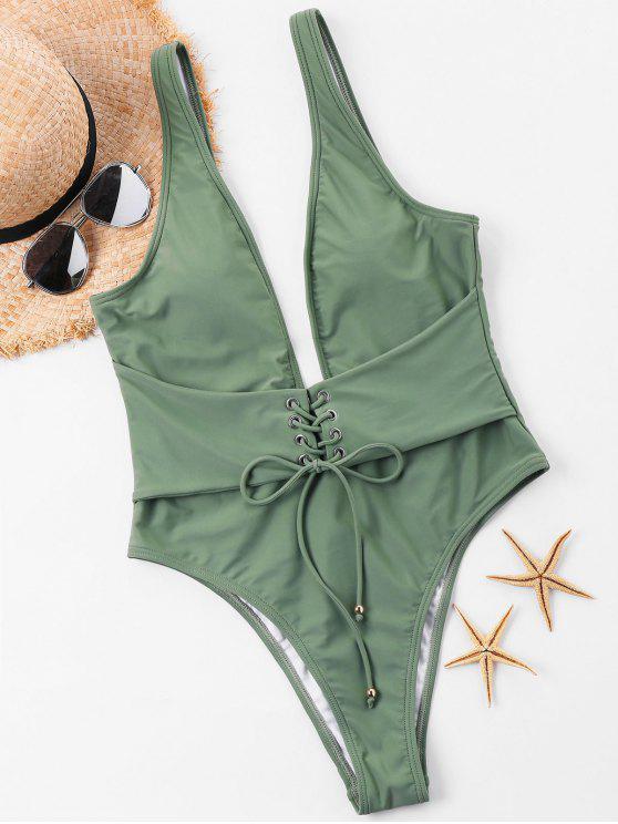 Costume Da Bagno A Taglio Alto Con Lacci A Scollo Profondo - Verde Bruno Chiaro S