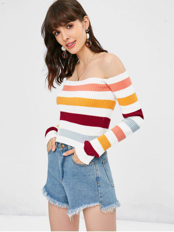 women's Off Shoulder Contrast Knitted Top - MULTI ONE SIZE