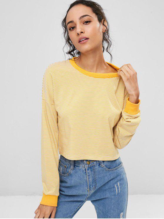 women Striped Cropped Pullover Sweatshirt - BEE YELLOW M