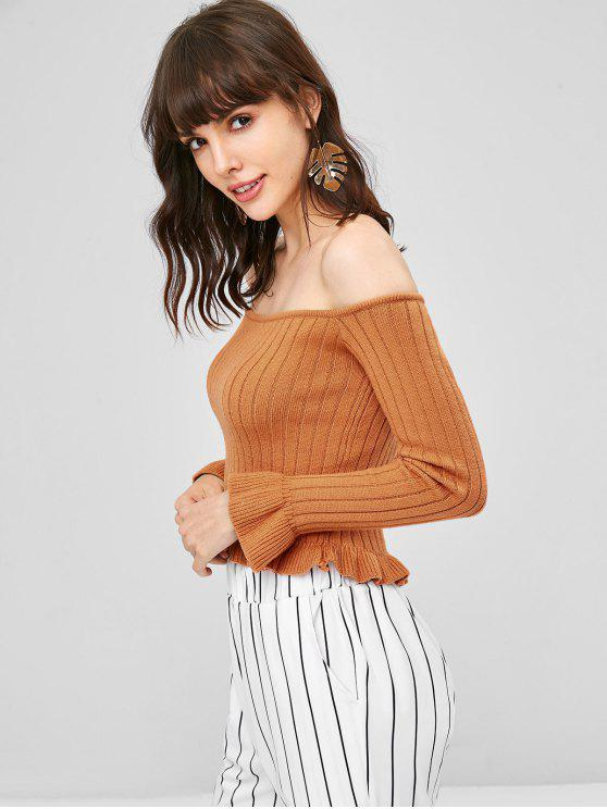 best Off Shoulder Ruffles Sweater - LIGHT BROWN ONE SIZE