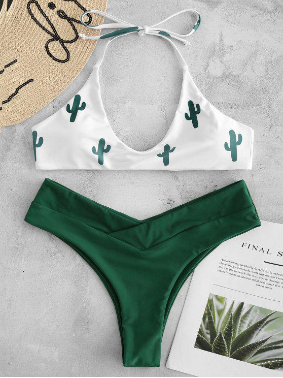 shop High Cut Cactus Print Bikini Set - WHITE L