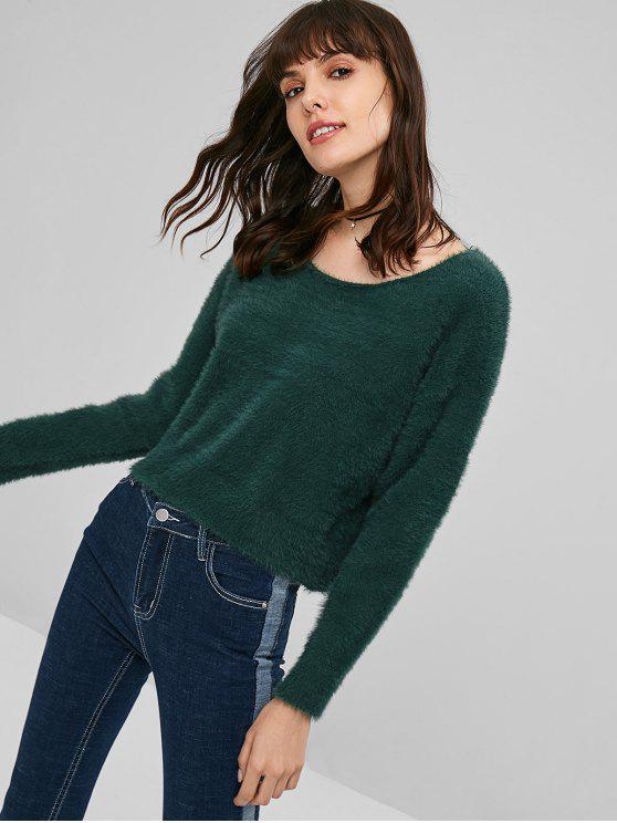 women's Round Neck Mohair Sweater - MEDIUM SEA GREEN ONE SIZE