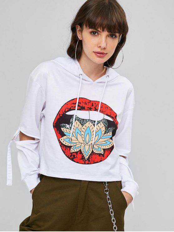 sale Cutout Sleeves Graphic Cropped Hoodie - WHITE S