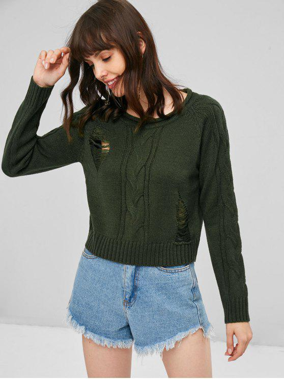 chic Ripped Cable Knit Sweater - ARMY GREEN ONE SIZE
