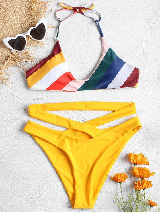 Conjunto de bikini de rayas cruzadas de corte alto - Caucho Ducky Amarillo S