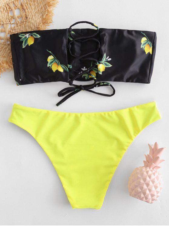 lady Lemon Print Lace-up Bandeau Bikini Set - BLACK M