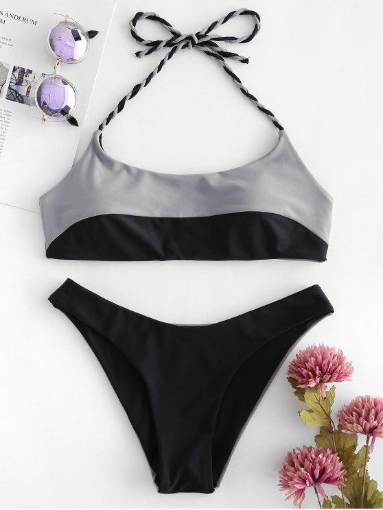 hot Two Tone Bikini Set - BLACK S