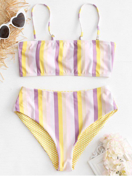 Conjunto de Bikini de talle alto a rayas - Multicolor S