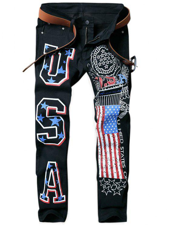 outfit Letter American Flag Printed Tapered Jeans - BLACK 32