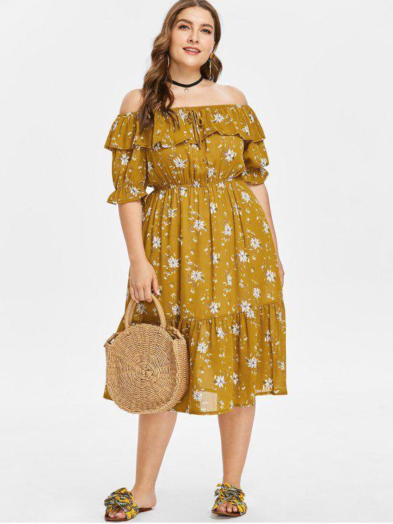 Robe Floral Epaule Dénudée de Grande Taille - Moutarde  3X
