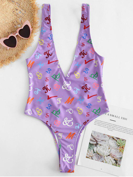 trendy Letter Plunging Bralette Swimsuit - PURPLE S
