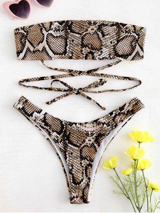 womens Snake Print Tie Bandeau Bikini - ORANGE GOLD L