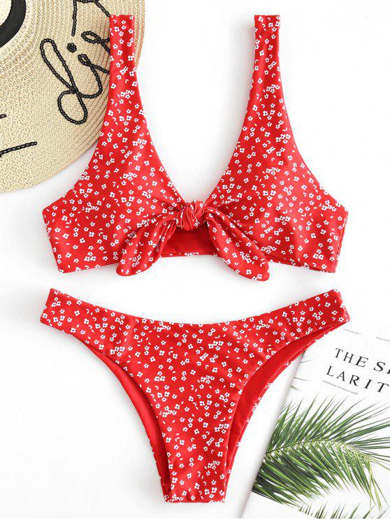 buy Floral Low Waisted Knot Bikini Set - FIRE ENGINE RED M