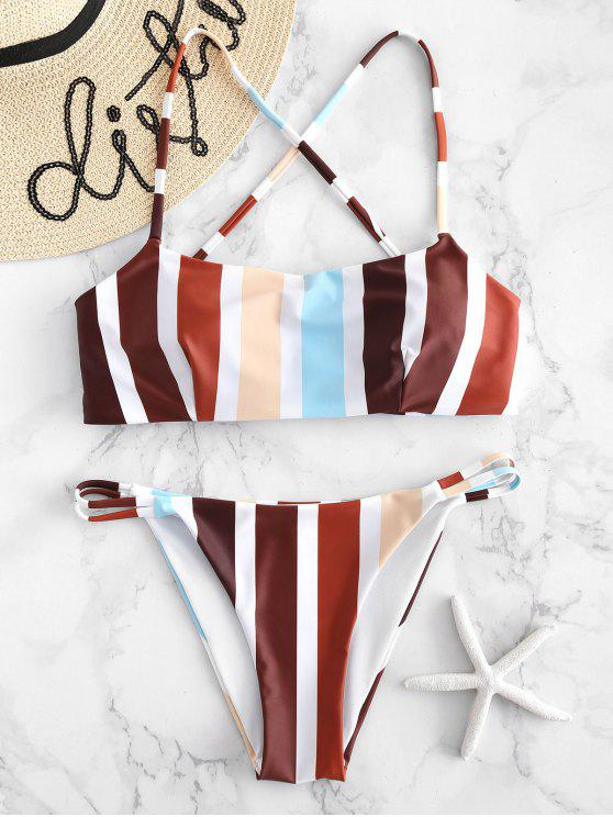 online Cross Strap Striped Bikini Set - MULTI L