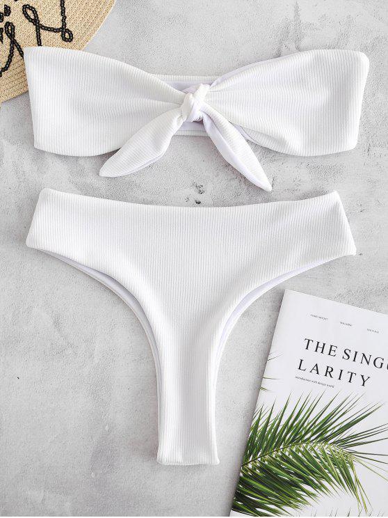 Ensemble de Bikini Noué Côtelé - Blanc S