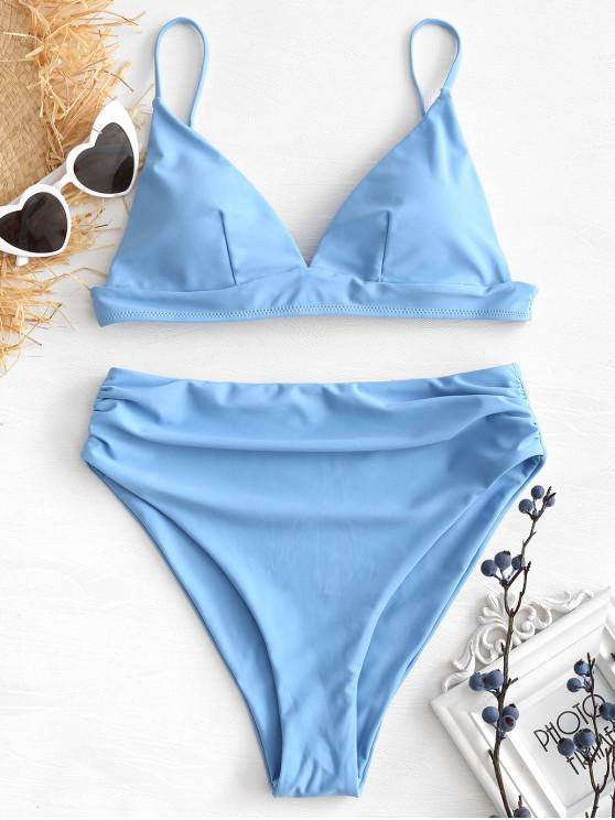 Conjunto de bikini de corte alto - Azul Denim M