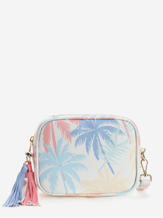 womens Tropical Leaves Print Color Block Tassels Crossbody Bag - BLUE