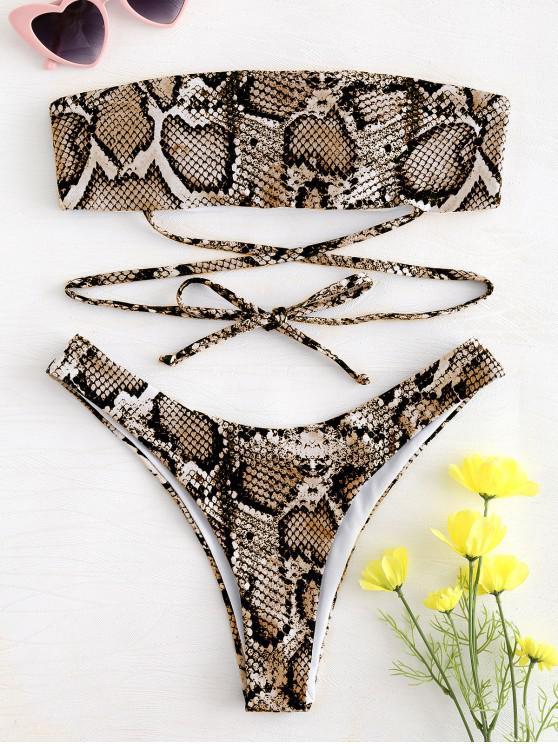 womens ZAFUL Snake Print Tie Bandeau Bikini - ORANGE GOLD L