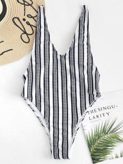 Vertical Striped High Cut Swimsuit - White And Black M