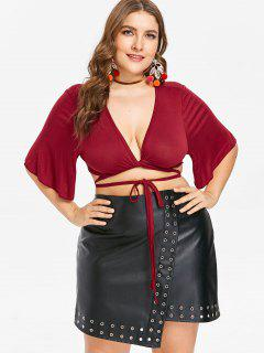Plus Size Twist Plunge Crop Tee - Red Wine 2x
