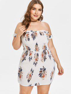 Plus Size Floral Smocked Fitted Mini Dress - White L