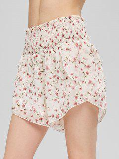 Tiny Floral Smocked Shorts - Beige M