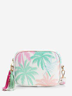 Tropical Leaves Print Color Block Tassels Crossbody Bag - Green