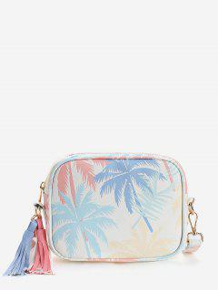 Tropical Leaves Print Color Block Tassels Crossbody Bag - Blue