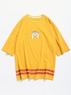 Squeeze Cat Face Print Graphic T-shirt - Yellow S