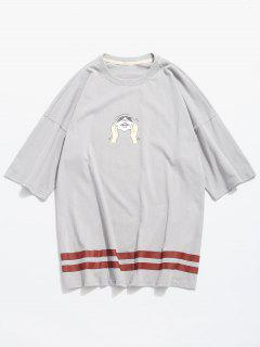 Squeeze Cat Face Print Graphic T-shirt - Gray M