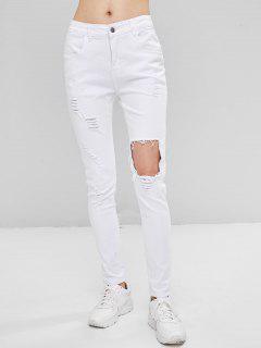 Pantalones Vaqueros Rasgados De Mediana Altura - Blanco L