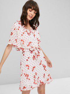 Cherry Knotted Top With Ruffle Skirt Set - White M