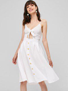 Smocked Tie Front Cami Dress - White M