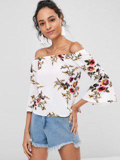Blumen Schulterfreie Bluse - Weiß M