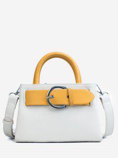 Contrasting Color Minimalist Buckled Embellished Handbag - White