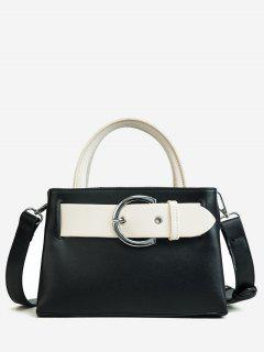 Contrasting Color Minimalist Buckled Embellished Handbag - Black
