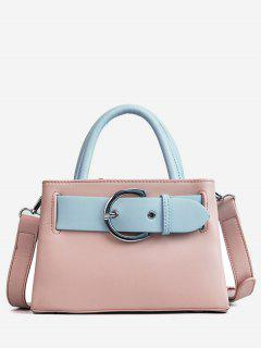 Contrasting Color Minimalist Buckled Embellished Handbag - Light Pink