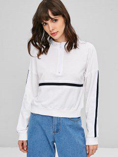 Striped High Neck Pullover Sweatshirt - White M