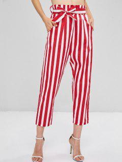 Back Zipper Striped Straight Pants - Fire Engine Red S