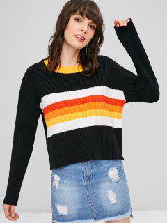 Suéter Acanalado De Color Block - Negro